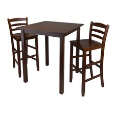 <strong>Winsome</strong> Parkland 3 Piece Set High Table with Ladder Back Chair in Antique Walnut