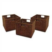 Espresso Wicker Basket Set (Set of 3)