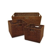 Set of 3 Walnut Storage Baskets (Set of 3)