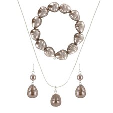 <strong>Roman</strong> Baroque Cultured Pearl 3 Piece Necklace, Bracelet, and Earring Set