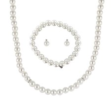 Cultured Pearl 3 Piece Necklace, Bracelet, and Earring Set