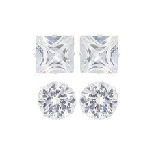 Multis Round and Square Cubic Zirconia Duo Earring