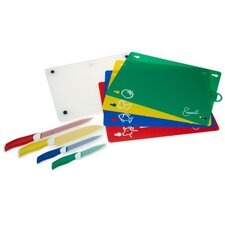 4 Piece Non-Stick Cutlery Set with Color-Coded Cutting Mats and Cutting Board