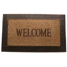 Faux-Wood Frame Border Doormat