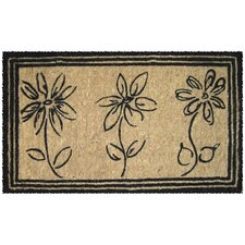 Handwoven Extra Thick Sketchbook Flowers Coconut Fiber Doormat