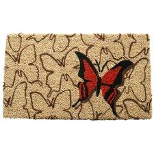 Orange Butterfly Handwoven Coconut Fiber Doormat