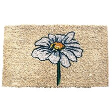 Single White Daisy Handwoven Coconut Fiber Doormat