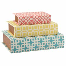 3 Piece Geometric Storage Book Box Set