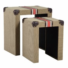 Traveler's Striped 2 Piece Nesting Tables