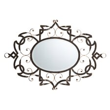 <strong>Bombay Heritage</strong> Samantha Scroll Metal Oval Mirror