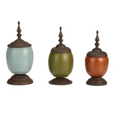 <strong>Bombay Heritage</strong> 3 Piece Patch Decorative Urn Set