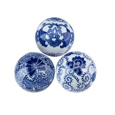 Blue & White 3 Piece Decorative Ball Figurine Sculpture