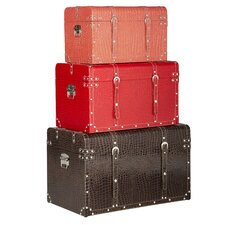 <strong>Bombay Heritage</strong> 3 Piece Metro Steamer Trunk Set