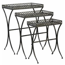 <strong>Bombay Heritage</strong> Script Mirrored Glass 3 Piece Nesting Table Trio