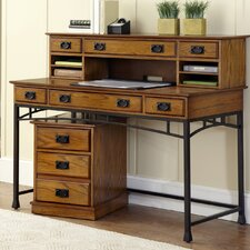 Modern Craftsman Writing Desk with Hutch and Mobile File