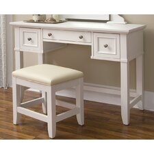 Naples Vanity Table and Bench Set in White