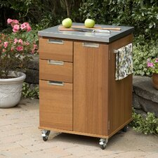 Montego Bay Patio Kitchen Cart with Stainless Steel Top