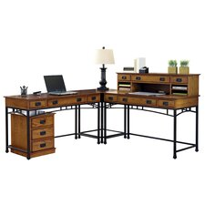 "Modern Craftsman Corner ""L"" Desk and Mobile File"