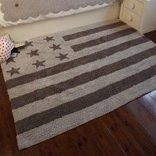 """Teppich """"Amerikanische Flagge"""" in Grau"""
