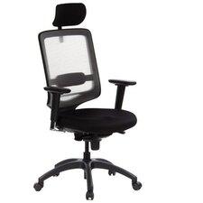 Höhenverstellbarer Bürostuhl / Chefsessel Midwood-Net mit Armlehnen, Kopf- und Lordosenstütze