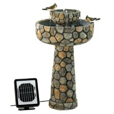 Two-Tier Cobblestone Solar Water Fountain