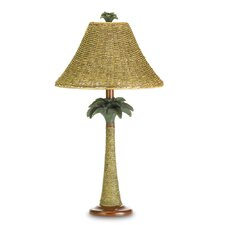 "Thatched Palm 25.5"" H Table Lamp with Bell Shade"