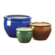 3 Piece Jewel-Tone Round Flower Pot Planter Set