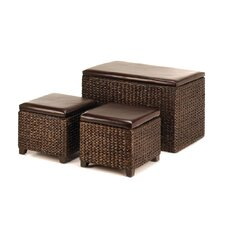3 Piece Storage Trunk and Ottomans Set