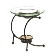 Curved Metal and Glass Tealight Oil Warmer