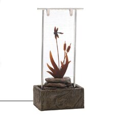 Cattails Resin, Glass and Stainless Steel Fountain