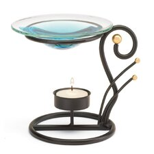 Fanciful Metal and Glass Tealight Oil Warmer