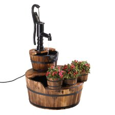 Well Pump Wood and Iron Garden Fountain