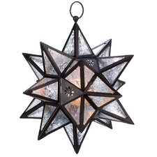 Exotic Star Iron and Glass Lantern