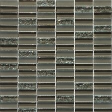 "Jayda Series 12"" x 12"" Mixed Crackled Glass Mosaic in Coffee"
