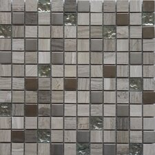"Fusion Series 1"" x 1"" Mixed Metal Glass Marble Mosaic in Multi"