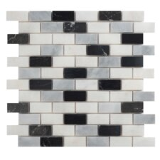 """Cool Mix Blend 1"""" x 2"""" Marble Mesh-Mounted Mosaic in Multi"""