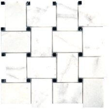 "Carara Extra 12-1/2"" x 12-1/2"" Mesh-Mounted Mosaic in White"