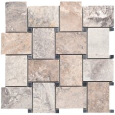 "Silver 12-1/2"" x 12-1/2"" Mesh-Mounted Travertine Marble Mosaic in Silver"