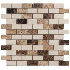 "Spanish Blend 1""x 2"" Marble Mesh-Mounted Mosaic in Multi"
