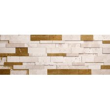 Wall Cladding Random Sized Honed Cubic Travertine Mosaic in Ivory and Brown