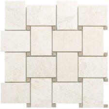 White Random Sized Mesh-Mounted Travertine Marble Mosaic in Cream White