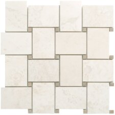 "White 12-1/2"" x 12-1/2"" Mesh-Mounted Travertine Marble Mosaic in Cream White"
