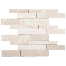 "Alara Crema Marble Mosaic Random Strips Brushed 16"" x 12"" Tile in Light Beige"