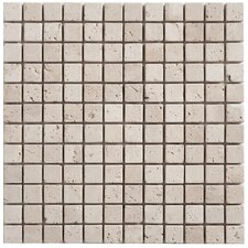 "Travertine Mosaic Tumbled 12"" x 12"" Tile in Light Ivory"