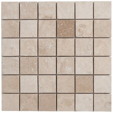 "Travertine Mosaic Filled and Honed 12"" x 12"" Tile in Light Ivory"