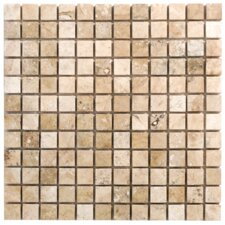 "Philadelphia Travertine Mosaic Filled and Honed 12"" x 12"" Tile in Beige and Gray"
