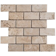 "Travertine Mosaic Brick Tumbled 14"" x 12"" Tile in Light Ivory"