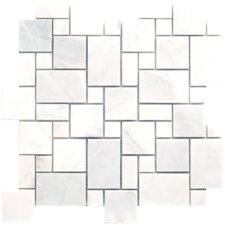 Carrara Extra Random Sized Marble Mosaic Mini Pattern Polished Tile in White