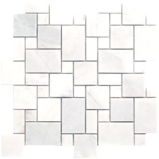 "Carrara Extra Marble Mosaic Mini Pattern Polished 13"" x 13"" Tile in White"