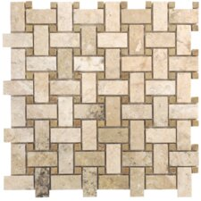 "Philadelphia Travertine Mosaic Basketweave Filled and Honed 12.5"" x 12.5"" Tile in Beige and Gray"